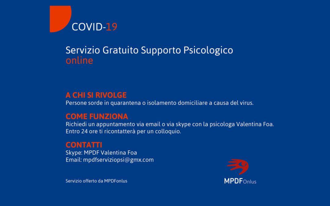 Servizio di supporto psicologico online gratuito per le persone sorde